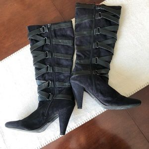 Lollipops black suede boots with leather details